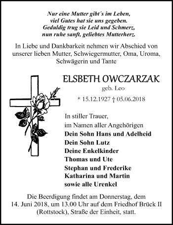 Traueranzeige für Elsbeth Owczarzak vom 09.06.2018 aus Märkischen Allgemeine Zeitung