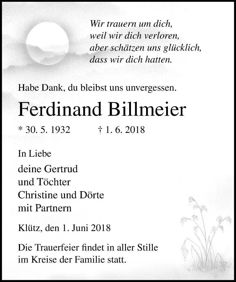 Traueranzeige von  Ferdinand Billmeier