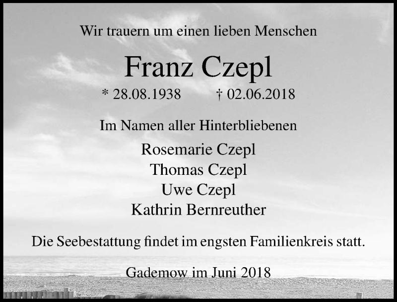 Traueranzeige von  Franz Czepl