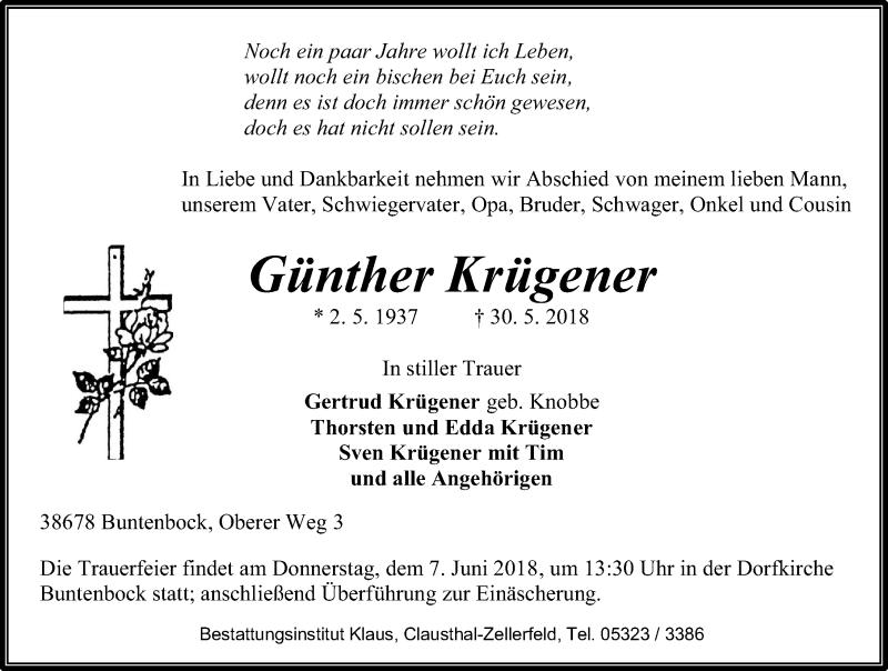 Traueranzeige für Günther Krügener vom 02.06.2018 aus Aller Zeitung