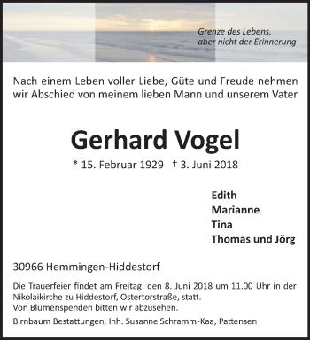 Traueranzeige für Gerhard Vogel vom 06.06.2018 aus Hannoversche Allgemeine Zeitung/Neue Presse