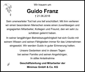 Traueranzeige für Guido Franz vom 30.06.2018 aus Lübecker Nachrichten