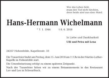 Traueranzeige für Hans-Hermann Wichelmann vom 12.06.2018 aus Kieler Nachrichten