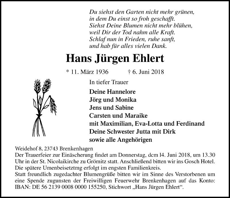 Traueranzeige für Hans Jürgen Ehlert vom 12.06.2018 aus Lübecker Nachrichten
