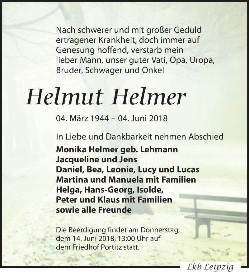Traueranzeige von  Helmut Helmer