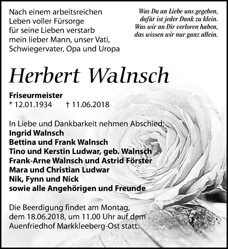 Traueranzeige von  Herbert Walnsch