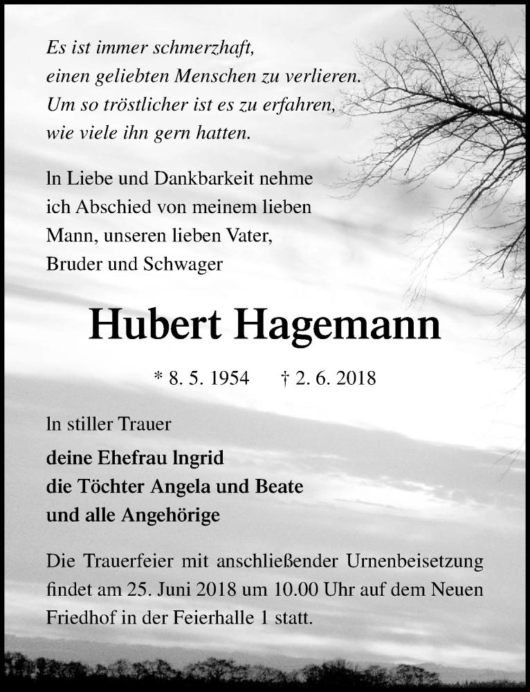 Anzeige von  Hubert Hagemann