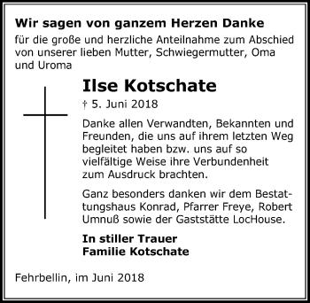 Traueranzeige für Ilse Kotschate vom 30.06.2018 aus Märkischen Allgemeine Zeitung
