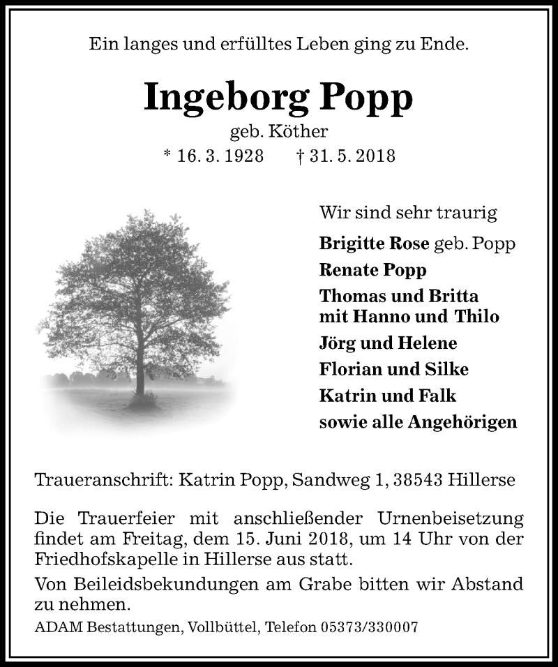 Traueranzeige für Ingeborg Popp vom 09.06.2018 aus Aller Zeitung