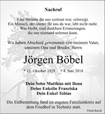 Traueranzeige für Jörgen Böbel vom 09.06.2018 aus Leipziger Volkszeitung
