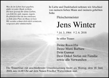 Traueranzeige für Jens Winter vom 09.06.2018 aus Ostsee-Zeitung GmbH