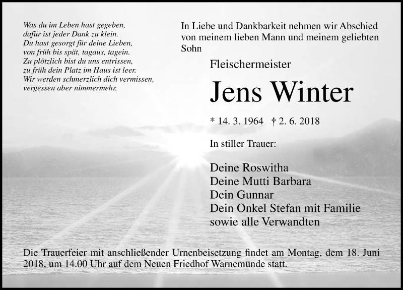 Traueranzeige von  Jens Winter