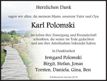 Traueranzeige für Karl Polomski vom 30.06.2018 aus Märkischen Allgemeine Zeitung