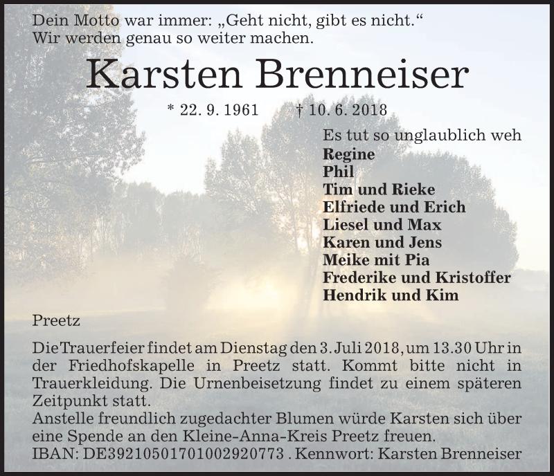 Traueranzeige für Karsten Brenneiser vom 30.06.2018 aus Kieler Nachrichten