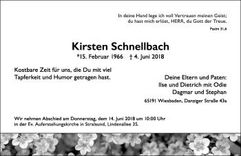 Traueranzeige für Kirsten Schnellbach vom 09.06.2018 aus Ostsee-Zeitung GmbH