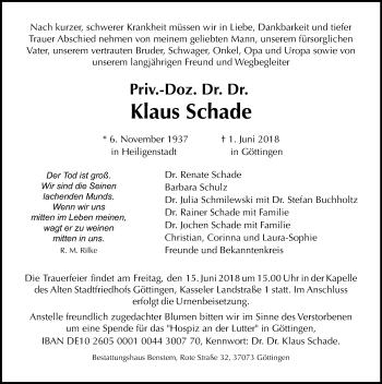 Traueranzeige für Klaus Schade vom 09.06.2018 aus Göttinger Tageblatt