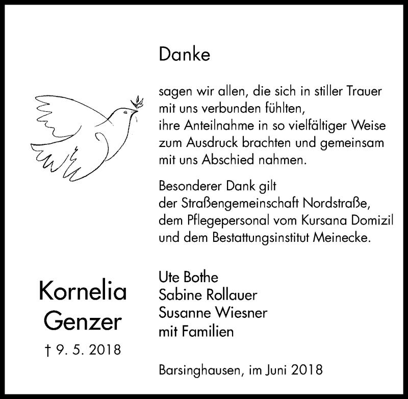 Traueranzeige von  Kornelia Genzer