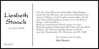 Traueranzeige für Liesbeth Staack vom 27.06.2018 aus Kieler Nachrichten