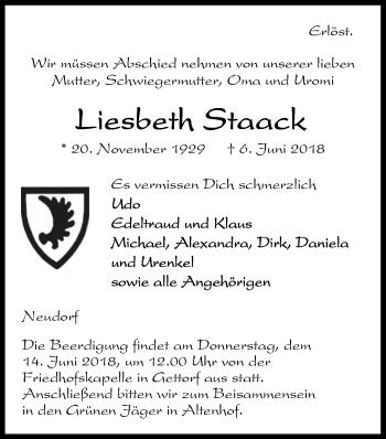 Traueranzeige für Liesbeth Staack vom 09.06.2018 aus Kieler Nachrichten