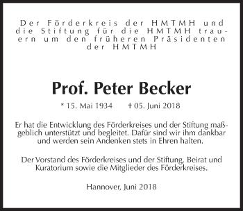 Traueranzeige für Peter Becker vom 09.06.2018 aus Hannoversche Allgemeine Zeitung/Neue Presse