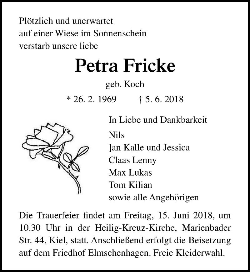 Traueranzeige für Petra Fricke vom 13.06.2018 aus Lübecker Nachrichten