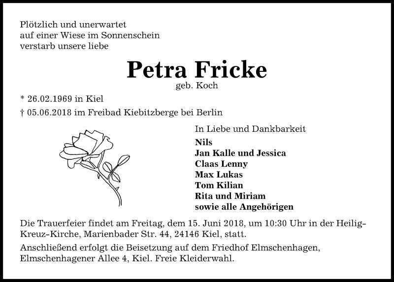Traueranzeige für Petra Fricke vom 13.06.2018 aus Kieler Nachrichten
