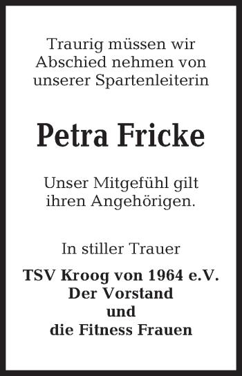 Traueranzeige für Petra Fricke vom 16.06.2018 aus Kieler Nachrichten