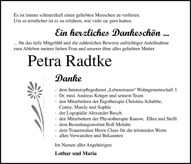 Traueranzeige von  Petra Radtke