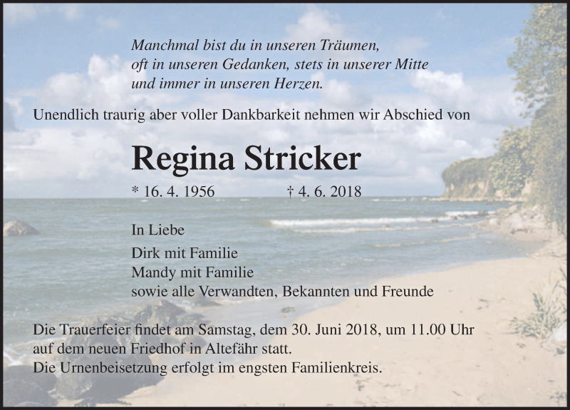 Traueranzeige von  Regina Stricker