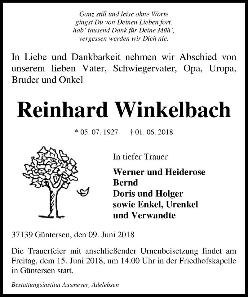 Traueranzeige für Reinhard Winkelbach vom 09.06.2018 aus Göttinger Tageblatt