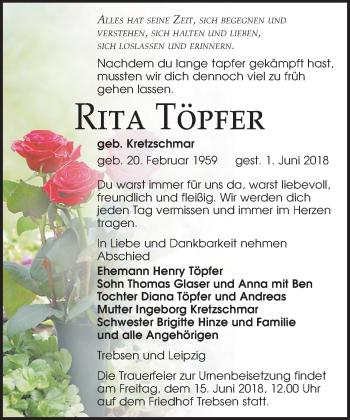 Traueranzeige für Rita Töpfer vom 09.06.2018 aus Leipziger Volkszeitung