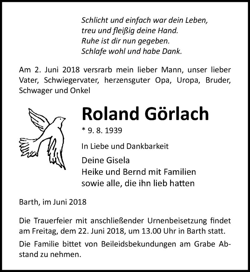 Traueranzeige von  Roland Görlach