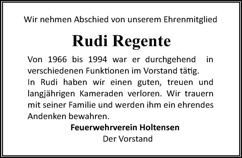 Traueranzeige für Rudi Regente vom 16.06.2018 aus Göttinger Tageblatt