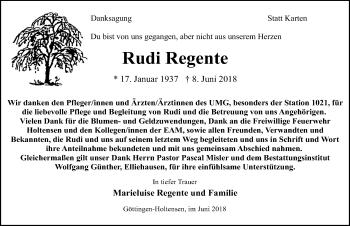 Traueranzeige für Rudi Regente vom 27.06.2018 aus Göttinger Tageblatt