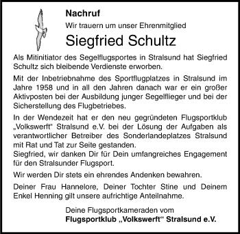 Traueranzeige für Siegfried Schultz vom 06.06.2018 aus Ostsee-Zeitung GmbH