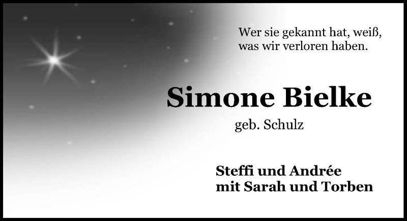 Traueranzeige für Simone Bielke vom 09.06.2018 aus Aller Zeitung