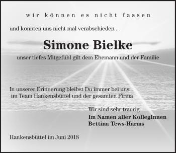 Traueranzeige für Simone Bielke vom 11.06.2018 aus Aller Zeitung