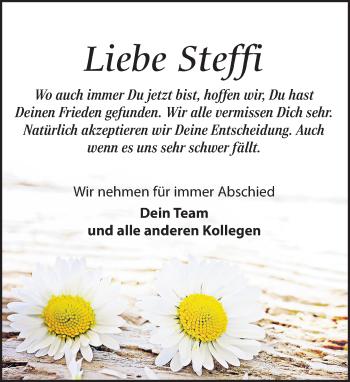 Traueranzeige für Steffi  vom 13.06.2018 aus Leipziger Volkszeitung