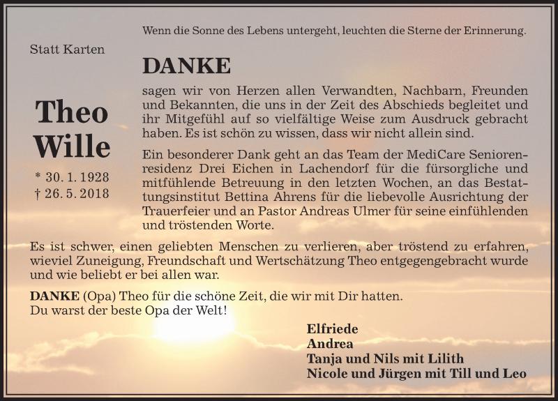 Traueranzeige für Theo Wille vom 29.06.2018 aus Aller Zeitung