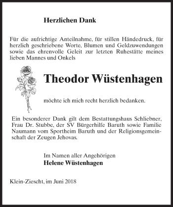 Traueranzeige für Theodor Wüstenhagen vom 23.06.2018 aus Märkischen Allgemeine Zeitung