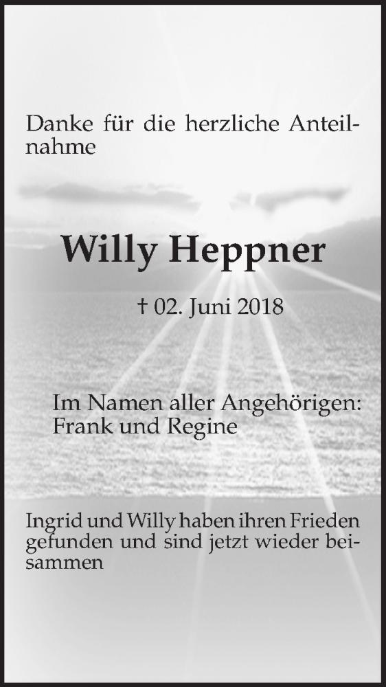 Traueranzeige von  Willy Heppner