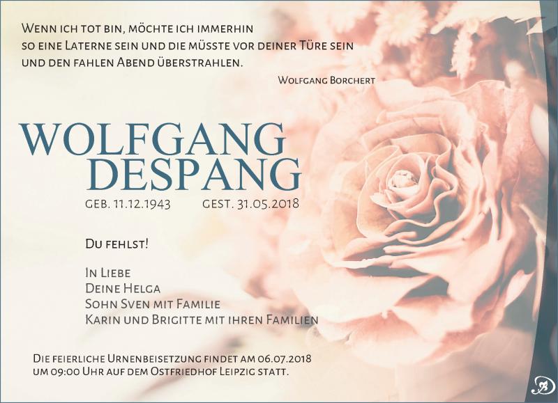 Anzeige von  Wolfgang Despang