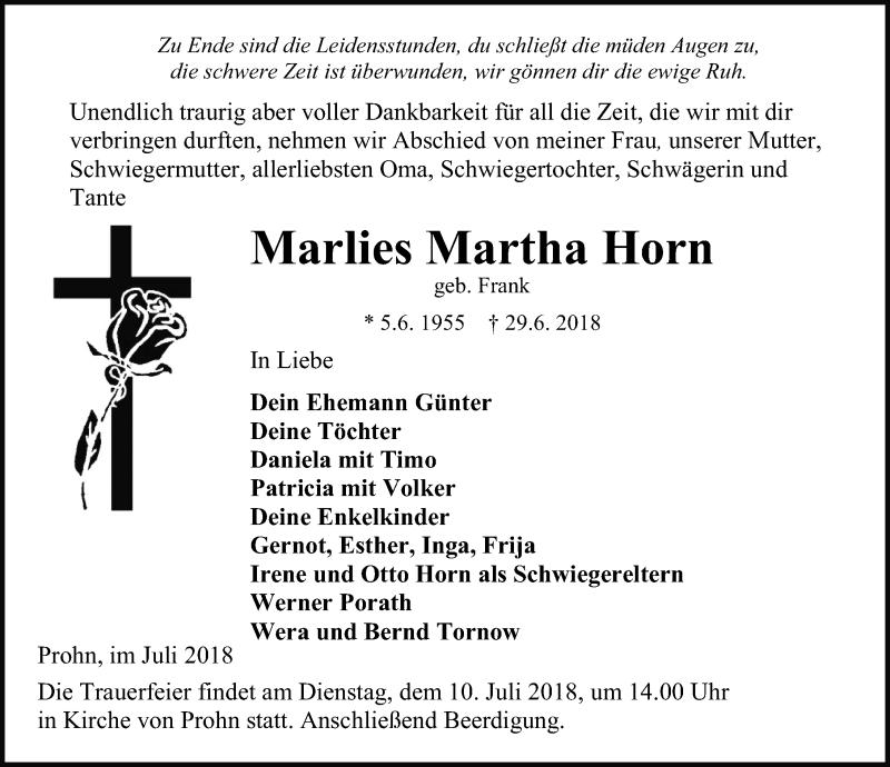 Traueranzeige von  Marlies Martha Horn