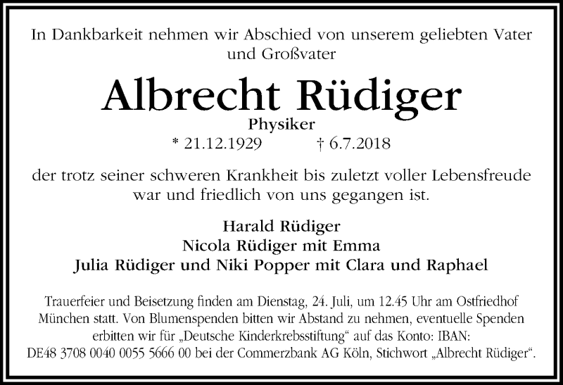 Traueranzeige von  Albrecht Rüdiger