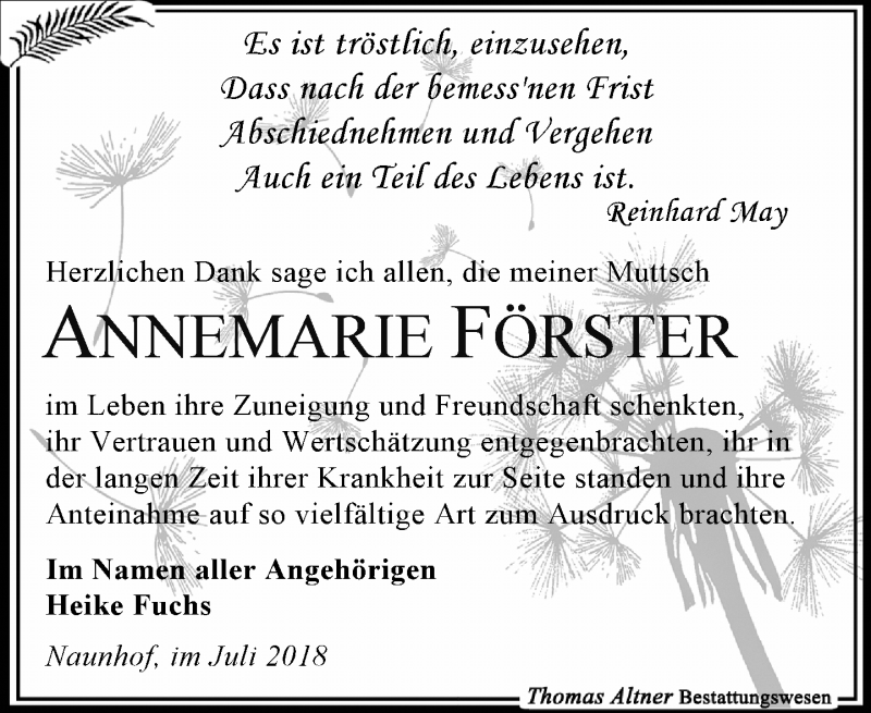 Traueranzeige für Annemarie Förster vom 14.07.2018 aus Leipziger Volkszeitung