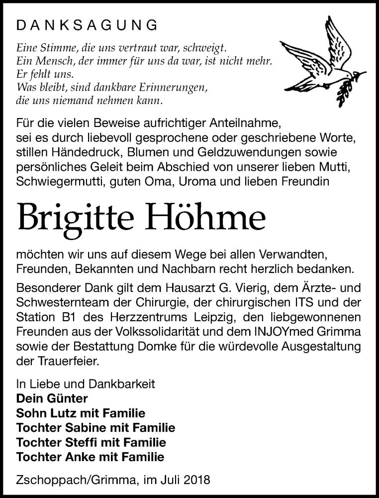 Traueranzeige von  Brigitte Höhme