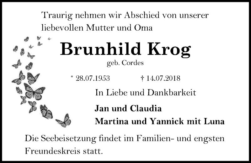 Traueranzeige von  Brunhild Krog