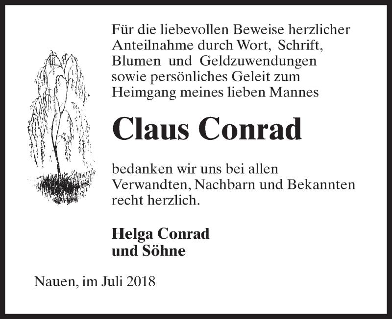 Traueranzeige für Claus Conrad vom 07.07.2018 aus Märkischen Allgemeine Zeitung