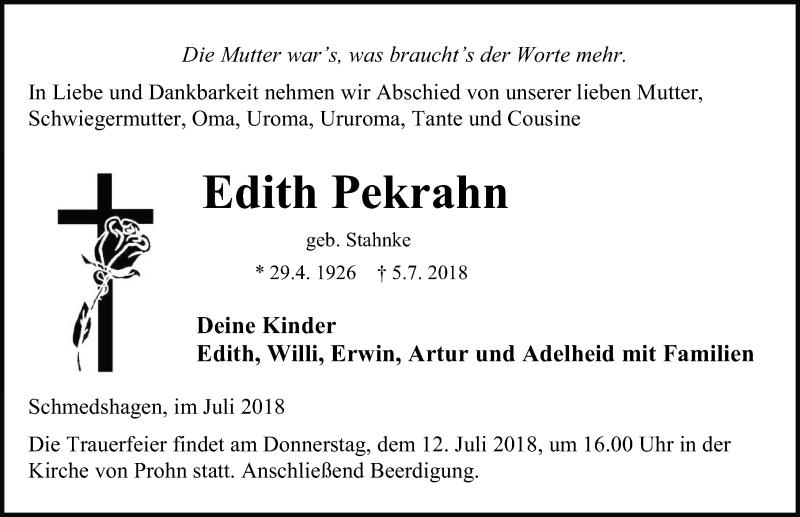 Traueranzeige von  Edith Pekrahn