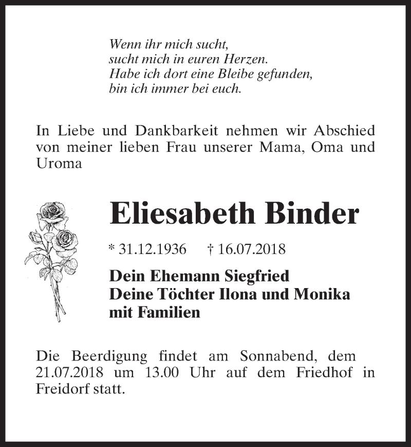 Traueranzeige von  Eliesabeth Binder